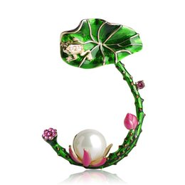 Wholesale beads for clothing decoration for sale - Group buy Simulated pearl Brooches For Women Gold Color Enamel Lotus leaves Frog Brooch Pins Beads Broches Hats Clothes Decoration