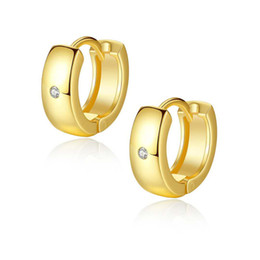91bba4f6b Unisex Small Earrings Hoops for Kids Men Women 18K Yellow Gold White Gold  Plated CZ Earrings Hoop Huggie Nice Gifts