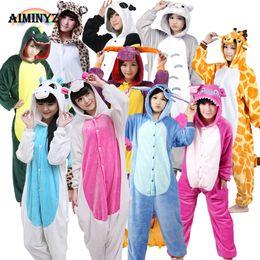 Wholesale Unisex Unicorn Pegasus Stitch Panda Dinosaur Flannel Pajamas Sets  Animal Cartoon For Men Women 16ff97444