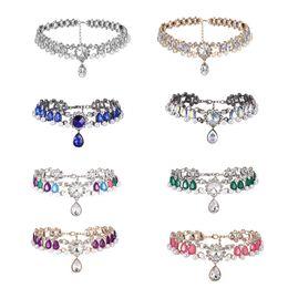 627cb354bf81 SHUANGR 10 Colors Full Big Rhinestone Luxury Chokers Statement Necklaces  Luxury Teardrop Crystal Pendant Women Chunky Jewelry