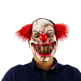 China Halloween Mask Scary Clown Latex Full Face Mask Big Mouth Red Hair Nose Cosplay Horror masquerade Ghost Party Decor 2018 cheap face decor suppliers