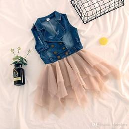 53118df78e Vieeolove Baby Girls Lace Tutu 2019 New Spring Summer Dresses Childrens  Sleeveless for Kids Clothing Flower Denim Vest Dress VL-175