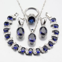 oval zircon rings 2019 - Manny Trinket New Fashion 925 Silver Oval Blue Zircon Jewelry Sets Bracelet Ring Earrings Pendant Necklace Chain For Wom