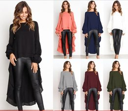 $enCountryForm.capitalKeyWord NZ - Asymmetric Irregular Fashion Women T Shirts High Front Low Back Crew Neck Tiered Trendy Lady Blouse Top and Tees 2018 Autumn