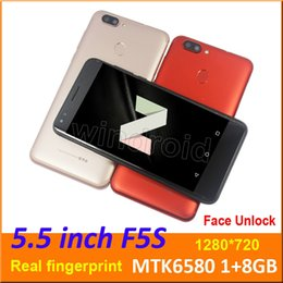 "8mp camera bar phones 2019 - F5S 5.5"" Quad Core Smart phone Android 7.0 MTK6580 1+8GB 1280*720 Dual SIM Cam 8MP 3G unlocked Fingerprint Face Unl"