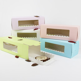 China 5 Colors Long Cardboard Paper Box for Cake Bakery Swiss Roll Cake Boxes Cookie Mooncake Packaging cheap cupcakes bakeries suppliers
