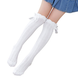 girls bow socks wholesale UK - 2017 Fashion Toddlers Girls Solid Color School Girls Knee High Coon 3-12Y Kids Socks Bow Decoration Warmer
