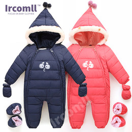 snowsuit infant boy NZ - 2018 New Down Cotton Baby Rompers Winter Thick Boys Costume Girls Warm Infant Snowsuit Kid Jumpsuit Children Outerwear Baby Wear 0-18m