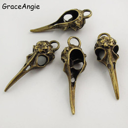 Wholesale GraceAngie Punk Charms Antique Bronze Skull Bird Head Pointed Mouth Pendant Handmade Hanging Crafts Vintage Jewelry Finding