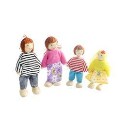 Семья куклы с 4 куклами для деревянной мебели Dollhouse на Распродаже
