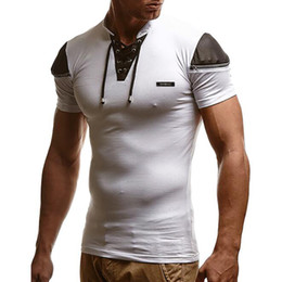 white leather t shirt NZ - Mens Sexy Bandage Hollow Out White V Neck T Shirt Male Patchwork Leather T-shirt Men Hip Hop Streetwear Zipper Tee Tops