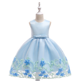 e1ab667335a Light Blue High Low Organza Flower Girl Dresses 2018 Luxury Pearls Flowers  Little Girls Wedding Party Dress First Communion Gown