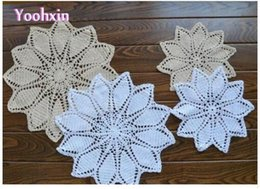 Kitchen Place Mats NZ - 25 35cm cotton lace placemat cup coaster pot mug holder kitchen table place mat cloth Crochet drink coffee doily dining pad