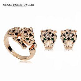 Marca de design cor de rosa de ouro austríaco strass clássico leopardo manchado luxo lady conjunto de jóias brincos / anel presentes de natal do navio da gota