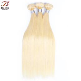 Venta al por mayor de Armadura brasileña del pelo recto paquetes Color 613 tramas de cabello rubio 3 unidades 10-28 pulgadas Remy extensiones de cabello humano envío gratis