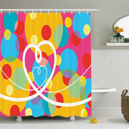 colorful pop art 2019 - Groovy Decorations Collection Pop Dots Different Sized Circles and Loopy Hearts Colorful Fun Retro Art Polyester Shower