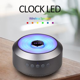 speakers change color NZ - S01 Clock LED Bluetooth Speaker With Six Color Change Subwoofer Support TF Card Aux Portable Wireless Speaker Retail Box Better Charge 3