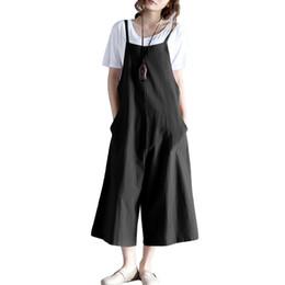 48d8bcbd852 Women Loose Suspender Trousers Solid Color Casual Overalls Jumpsuit Female  Wide Leg Long Pants Pockets Playsuit Autumn Rompers