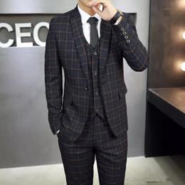 H Suit Australia - 2018 New Arrivals Wool One Button Groom Tuxedos Notch Lapel Groomsmen Best Man Suits Mens Wedding Suits (Jacket+Pants+Vest+Tie) H:509