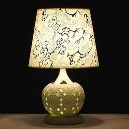 Discount cloth painting designs - freeshipping Modern home design LED TABLE lamp dual hollow decorative table lights bedroom bedside lamp