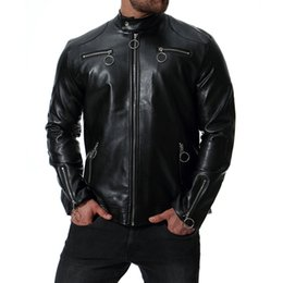 mens long leather motorcycle jacket NZ - Spring new fashion men's jacket pu leather jacket Motorcycle jacket slim men's Winter coat mens jackets men's Outwear J181058