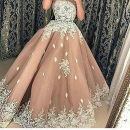 spring water sale Canada - 2019 Gorgeous Champagne Tulle Evening Dresses Strapless Neck White Appliques A Line Formal Evening Occasion Party Gown Custom Made Hot Sale