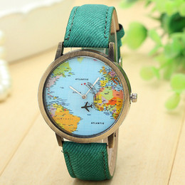 Map Wrist Watches Australia - Hot Sale Mini World Fashion Quartz Watch Men Unisex Map Airplane Travel Around The World Women Leather Dress Wrist Watches #Ju