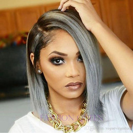 $enCountryForm.capitalKeyWord Australia - ombre grey bob human hair wig lace front wig ombre color two tone black to grey bob wig for women