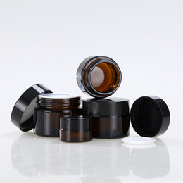 pack empty glass bottles 2018 - 15g 20g 30g 50g 100g Brown Amber Glass Cream Jar with Black Lid Sample Eye Cream Packing Bottle Empty Cosmetic Jar disco
