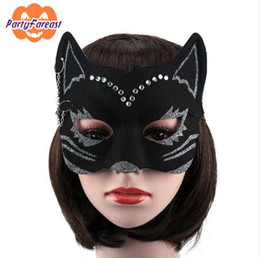 sexy cat masks Canada - PF Sexy Cat Masks Halloween Party Mask for Women Girls EVA Black Crystal Masquerade Masks for Nightclub Party Ornaments M037