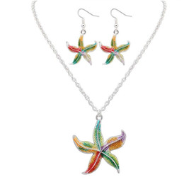 $enCountryForm.capitalKeyWord NZ - 2018 New fashion Jewelry starfish pendant necklace earrings two-piece gift for women ladies Top quality EXL 493