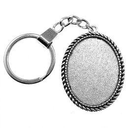 $enCountryForm.capitalKeyWord NZ - 6 Pieces Key Chain Women Key Rings Car Keychain For Keys Rope Simple Inner Size 30x40mm Oval Cabochon Cameo Base Tray Bezel Blank