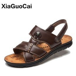 Male Leather Sandals Canada - New Arrival Summer Men's Sandals Slippers Two Uses Genuine Leather Casual Male Beach Shoes Breathable Non-slip Flat Mules