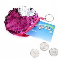 small zip wallet Australia - Fashion Women Sequins Portable Keychain Change Purse Wallet Coin Bags Women Leather Small Mini Wallet Holder Zip Coin Purse