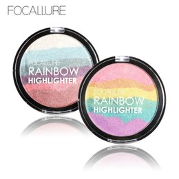 Rainbow coloR palette eyeshadow online shopping - FOCALLURE Face Changing Rainbow Highlighter Makeup Palette Cosmetic Blusher Shimmer Powder Contour Eyeshadow Face Changing Highlight