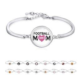Freundschaft Geschenke versilbert Sport Open Armreif Fußball Baseball Volleyball Fußball Mom Armband für Frauen