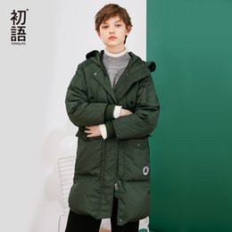 Green Down Parkas NZ - Toyouth Down Jacket Winter Long Hooded Down Parkas 80% White Duck Down Parka Female Thicken Warm Solid Green Outerwear Coat S1031