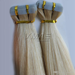 Discount tape hair extensions 18 613 - Straight #613 Blonde Tape In Human Hair Extensions Double Drawn 2.5g piece 40piece pack Skin Weft Hair Extension VMAE Ha