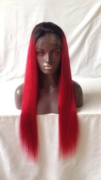 two toned indian glueless wig NZ - Two Tone Color Ombre Full Lace Wigs Glueless Red Lace Front Human Hair Wigs 1B T Red Ombre Lace Wigs With Black Roots