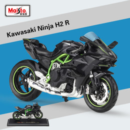 Discount toy buses for children - New Maisto 1:18 KAWASAKI NINJA H2 R Black Diecast Alloy Motorcycle Model Toy For Children Birthday Gift Toys Collection