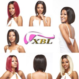 Brazilian hairstyles middle part online shopping - XBLHair Blonde Brazilian Lace Front Straight Human Remy Hair Wigs Ombre Short Bob Wigs Medium Size Middle Part x4
