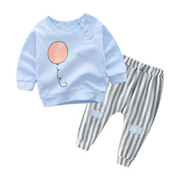 balloons children UK - New Spring Autumn Infant Baby Clothes Set Boys Girls Cartoon Balloon Cotton Tops T-shirt + Pants Kids 2pcs Set Children Outfits W312