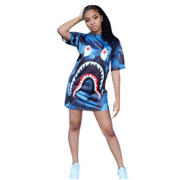 Chinese  Fashion casual dress 2018 women summer cartoon blue short sleeve o-neck Digital printing loose streetwear t shirt Mini Dress manufacturers