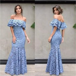 $enCountryForm.capitalKeyWord NZ - New Full Lace Mermaid Bateau Evening Dresses Ruffles Off Shoulder Floor Length Prom Wear See Through Bottom Party Gowns