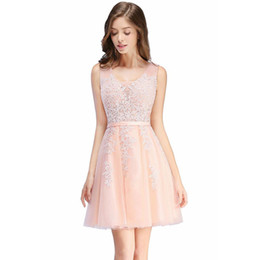 $enCountryForm.capitalKeyWord UK - Free Shipping 2019 Cheap Short Cocktail Dresses Homecoming Dresses A Line V Neck Tulle Appliques Beaded Prom Gowns with Lace-up Back