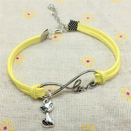 Cute fox jewelry online shopping - 2018 New Fashion Antique Silver Cute Animal Cat Charms Small Fox Pendant Infinity Love Leather Bracelets Lovely Jewelry Unique Gifts