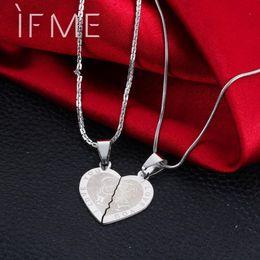 $enCountryForm.capitalKeyWord Australia - IF ME Valentine's Day Couples Lovers Promise Double Half Heart Statement Necklace Colar Silver Color Necklaces & Pendants