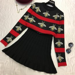 Amolapha Women Print Sweaters Skirts Sets Long Sleeve Knit Pullover Tops  Pleated Skirt 2PCS Suits for Woman C18110901 48c879835