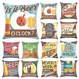 Wholesale Old Fashion Cushion Cover Flax Soft Pillowcase Beer Bottle Pillow Case Automobilebar Cafe House Decor Home Textiles kh gg