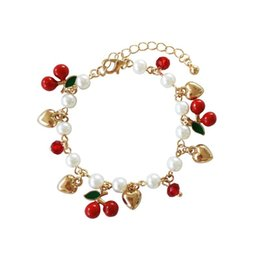 $enCountryForm.capitalKeyWord Australia - Fashion Jewelry Imitation Pearl Beads Chains Bracelet Golden Heart Love Red Cherry Fruit Charms Bracelets for Women Girls Gfits